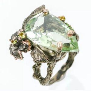Art genuine green amethyst tsavoring sterling